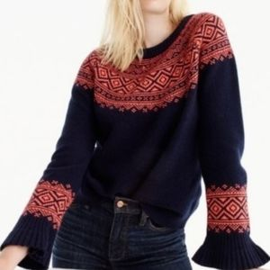 J. CREW RUFFLE SLEEVE FAIR ISLE SWEATER NAVY ORANG